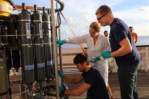 Wasserprobennahme an einem CTD Foto: Marie Heidenreich
